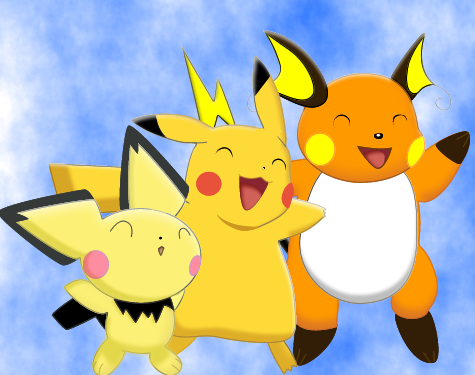 Pichu, Pikachu, and Raichu. by HitoshiAriga.deviantart.com on ...