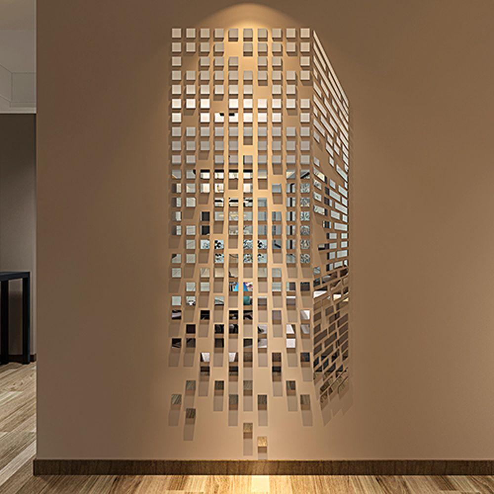 Diy Mosaic Little Squares 3d Acrylic Mirror Wall Sticker Living