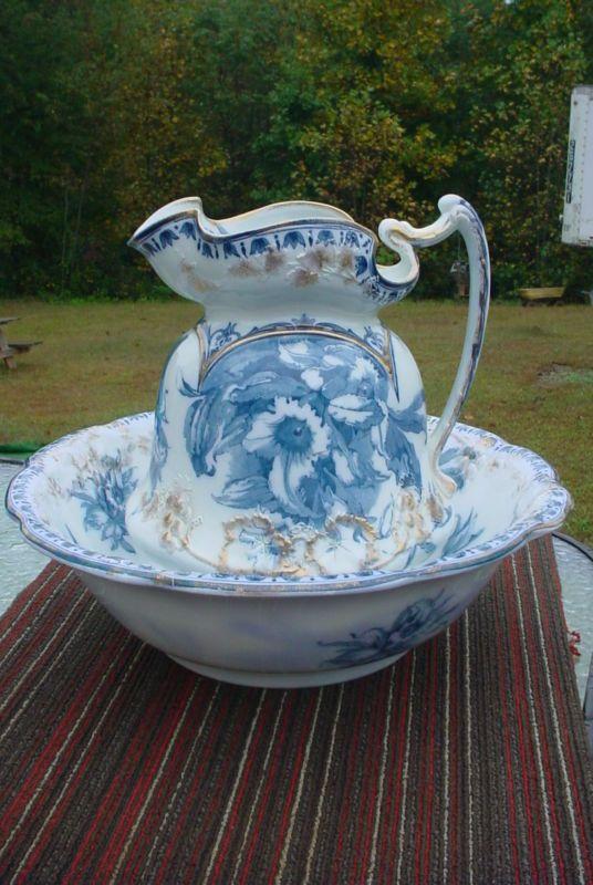 Vintage J Amp G Meakin Flo Blue Pitcher And Wash Basin Wash