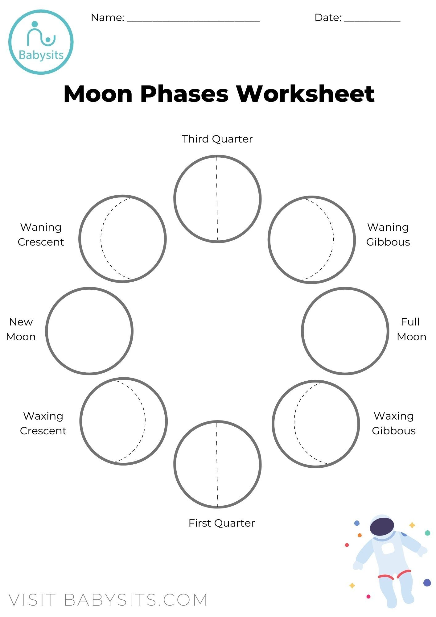 Moon Phases Worksheet Moon For Kids Moon Phases Space Crafts For Kids [ 2000 x 1414 Pixel ]