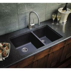 Love Granite Kitchen Sinks! Blanco Silgranit Natural Granite Composite  Kitchen Sink, Undermount, Anthracite