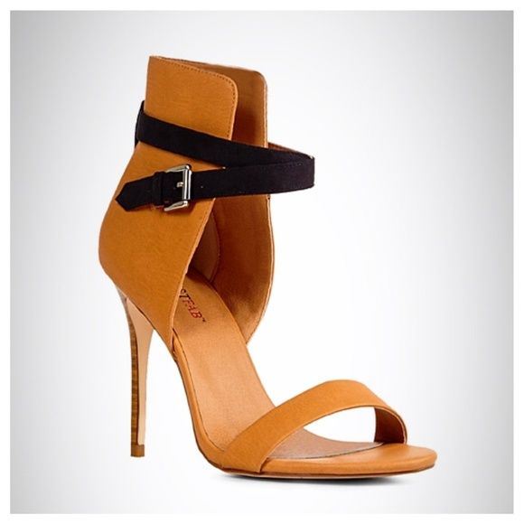 """JustFab Ora Tan Stiletto Sandal New in box - features a tall faux leather back counter with wraparound strap and adjustable buckle and faux stacked heel. 4-1/2"""" heel height. No trades no PayPal JustFab Shoes"""
