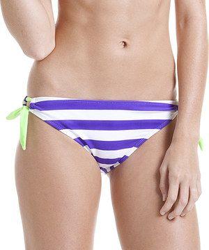 Look at this #zulilyfind! InMocean Purple & White Optic Stripe Side-Tie Bikini Bottoms by InMocean #zulilyfinds