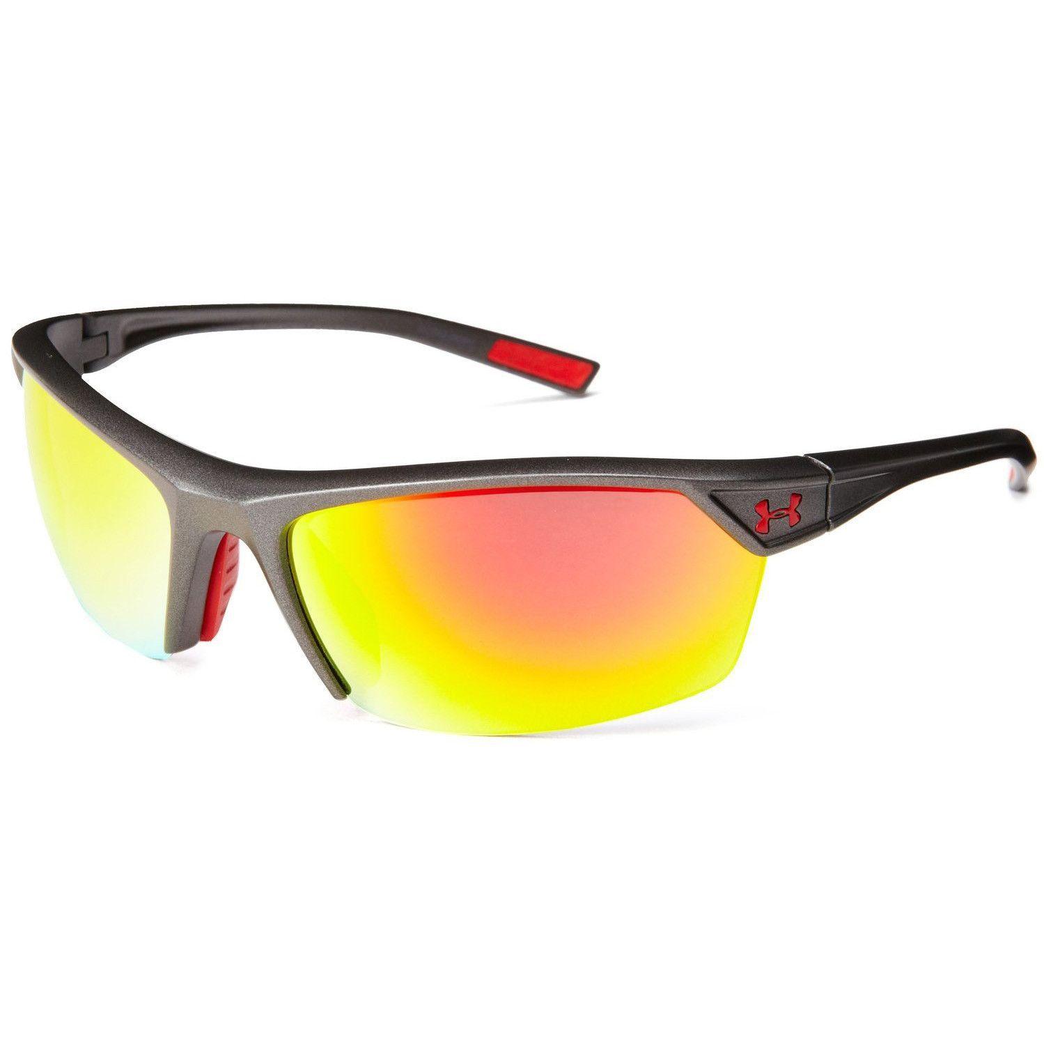 0054c02cee2bc Under Armour UA Zone 2.0 Sunglasses Satin Carbon Grey Frame Orange Mirror  Lens