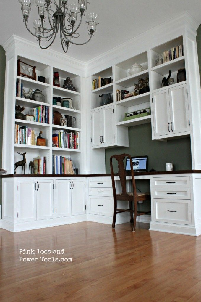 Saved Just Because It Is A Corner Design A DIY Home Office With Built In  Bookshelves. See How I Went About Constructing This Built In Desk With  Inset Doors ...
