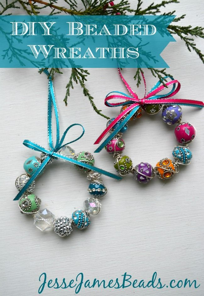 Beaded Wreath Ornaments Beaded Christmas Decorations Christmas