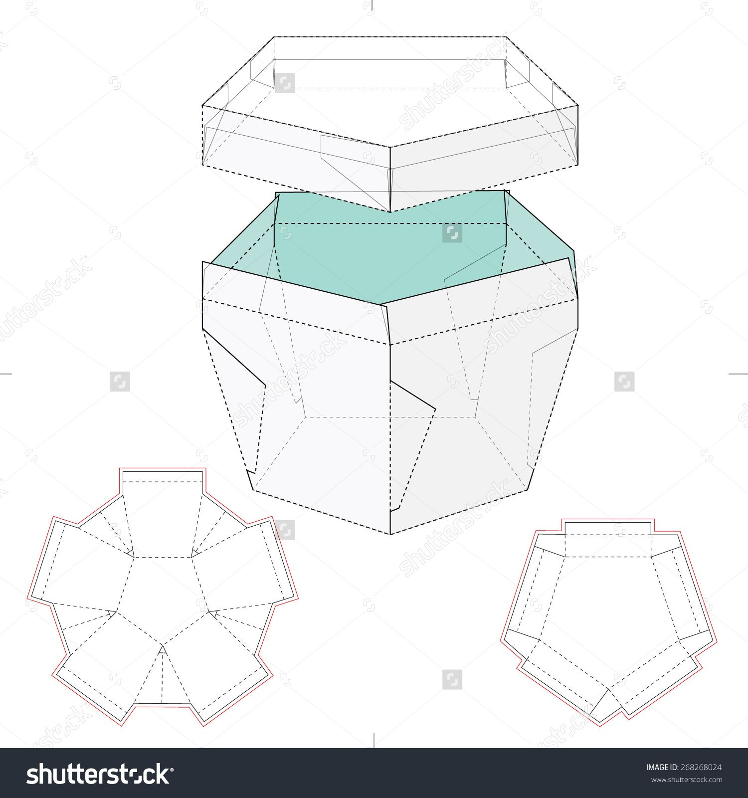 Pentagonal Box With Lid And Die Cut Template Stock Vector ... - photo#32