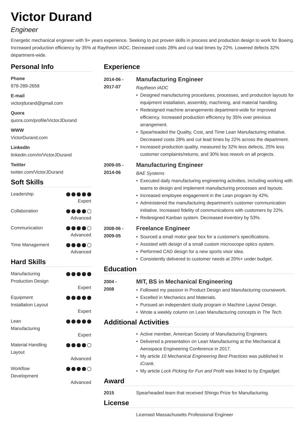 Engineering Resumes Templates in 2020 Engineering resume