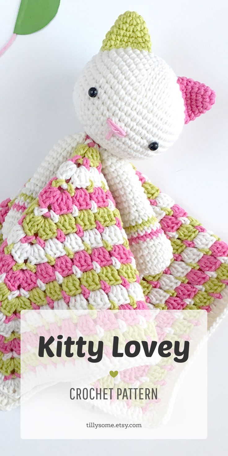 Kitty Lovey Pattern | Security Blanket | Crochet Lovey | Baby Lovey Toy | Blanket Toy | Lovey Blanke