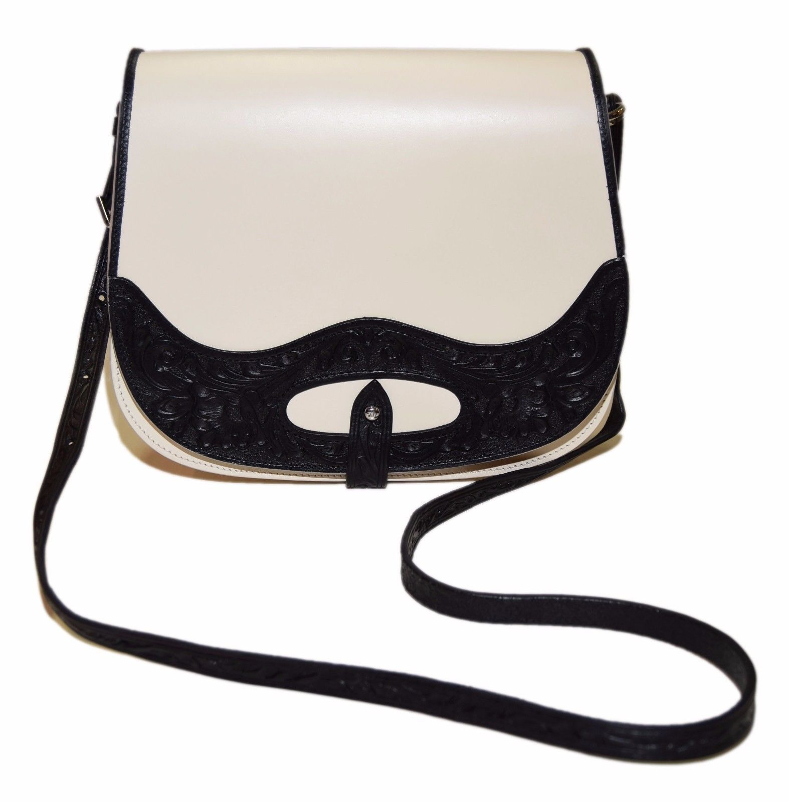 1a0ed10aa092 Polo Ralph Lauren Purple Label Collection Tooled Leather Black White Purse  Italy