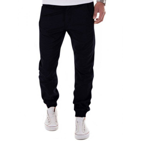 Black Mid Rise Cuff Ankle Pants