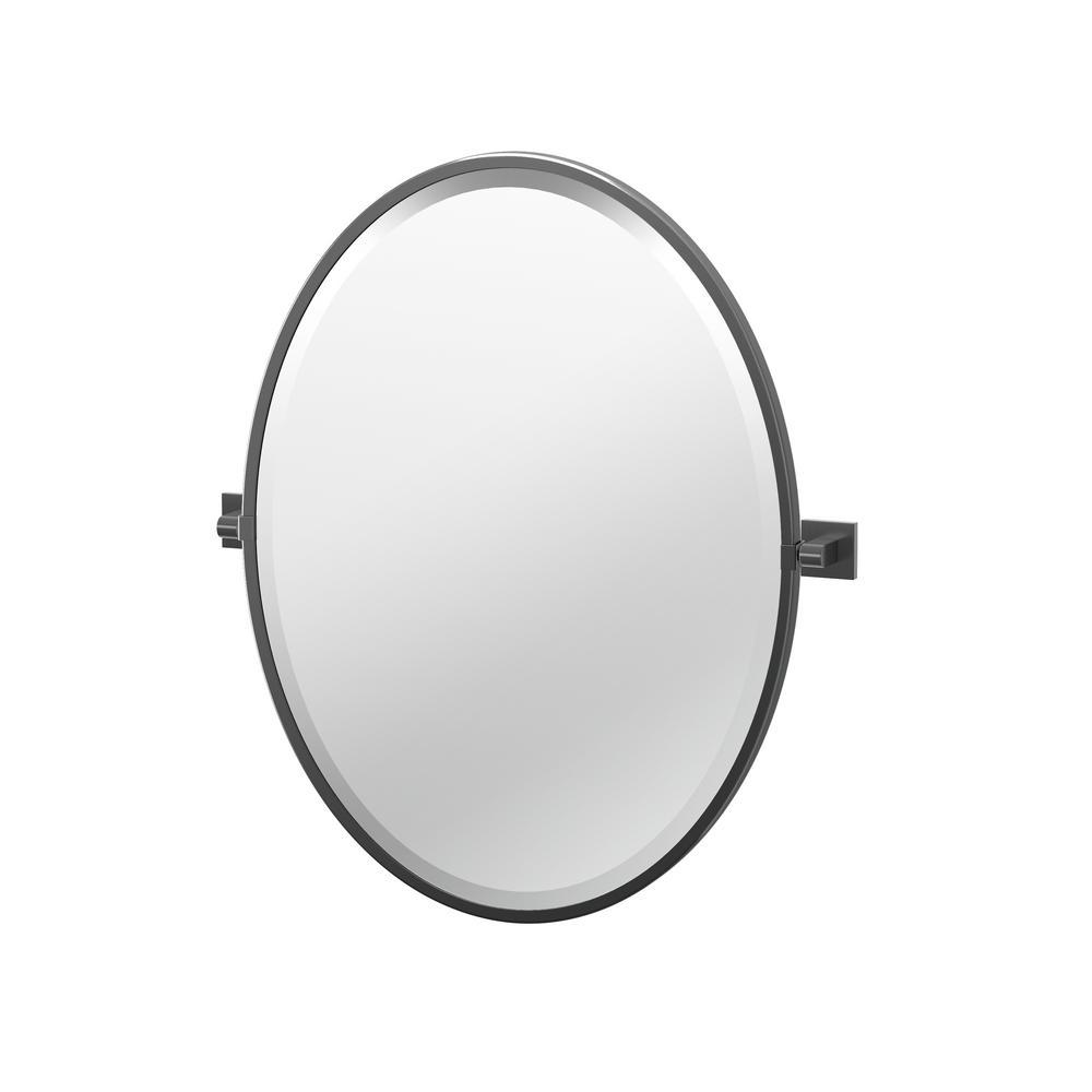 Gatco Elevate 27 5 In X 23 75 In Framed Oval Mirror In Matte Black 4059mxf The Home Depot Gatco Rectangle Mirror Mirror [ 1000 x 1000 Pixel ]