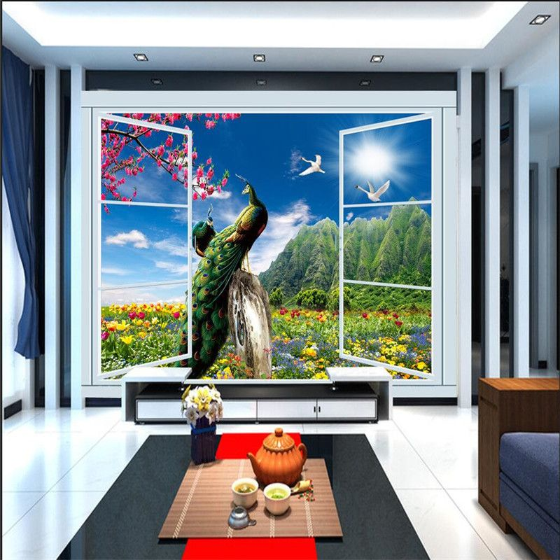 Modern Painting Peacock Flower And Bird Tree Window WallPaper Bedroom Sofa Background Mural Wallpaper For Living