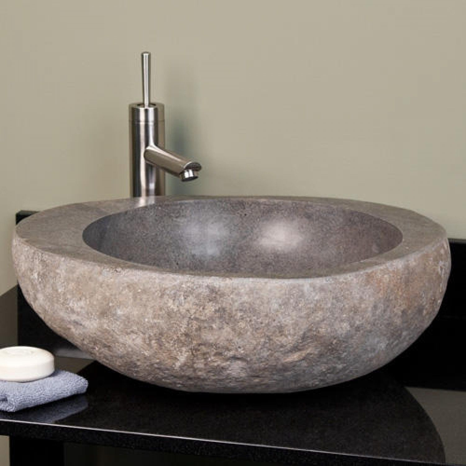 Double Vessel Sinks On Vanity Natural Light Gray River Stone