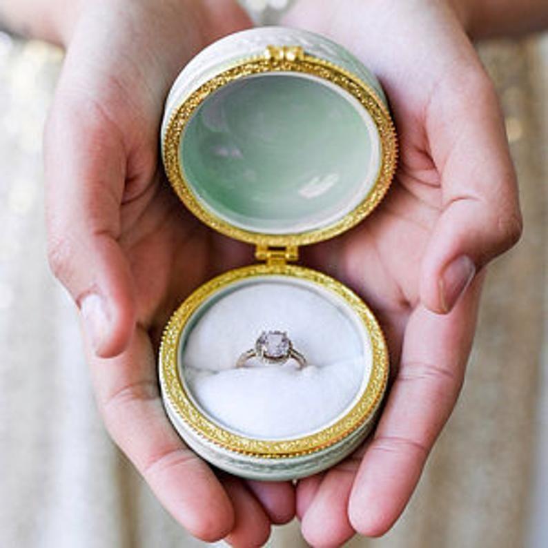 white macaroon ring box ring holder romantic engagement ring holder pillbox wedding ring box ceramic macaron ring box Proposal ring box