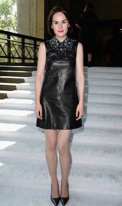 Leave It To Lady Mary, or Michelle Dockery, to Make a Leather Dress Totally Ladylike