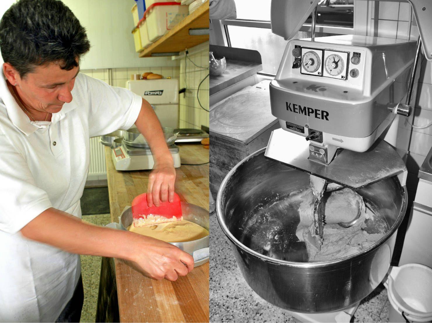 Bäckermeisterin Karmen Kron ist in der kleinen Backstube die rechte Hand von Helmut Ruß. Bäckerei Ruß in Guldental an der Nahe. #MoToLogie #Brot #Brotkultur