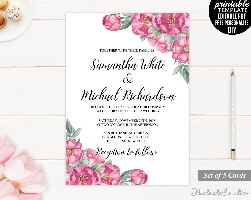 Floral Wedding Invitation Set Wedding Invitation Template