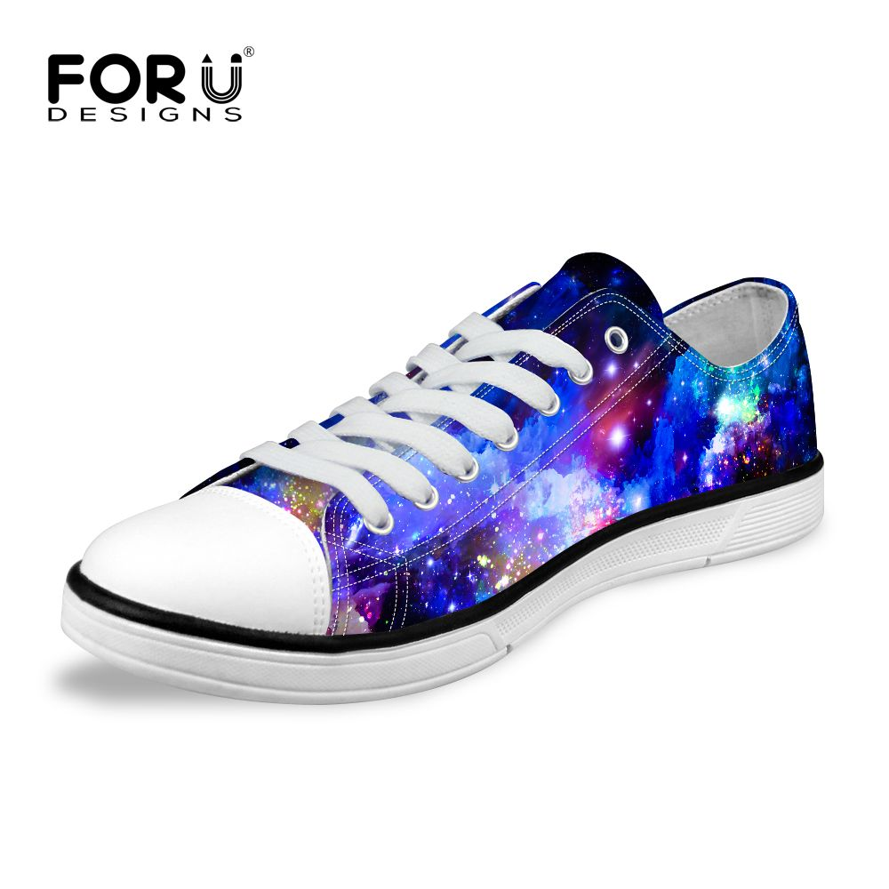 f29fa7a8183679 FORUDESIGNS Fashion Galaxy Universe Space Star Printed Women Casual Low  Canvas Shoes