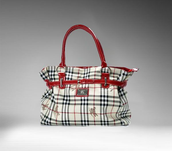 Burberry Square Check Beige Red Shoulder Bag