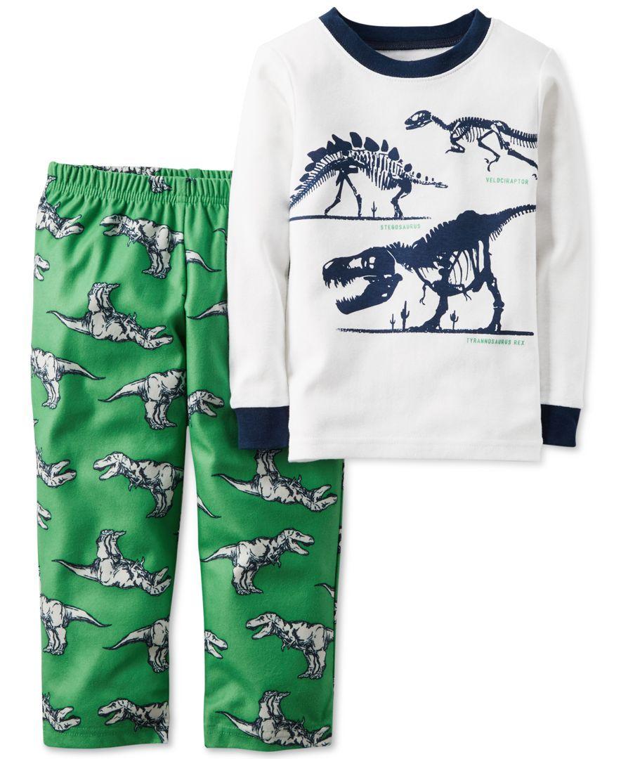 5cc8d4e41 Carter s Baby Boys  2-Pc. Long-Sleeve Dinosaur T-Rex Pajama Set ...