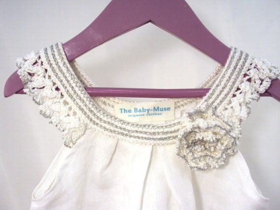 """crocheted sew organic linen baby toddler girl flower dress tunic with lacy edge """"White roses"""""""