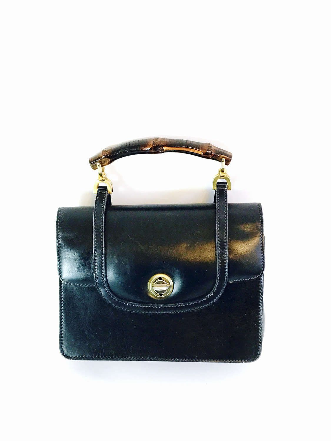 acb56645df65 Authentic GUCCI 1950s Handbag Navy Blue Leather Bag Wood Bamboo Top Handle  Pocketbook Stamped 50s True Vintage Designer Purse Made in Italy by ...