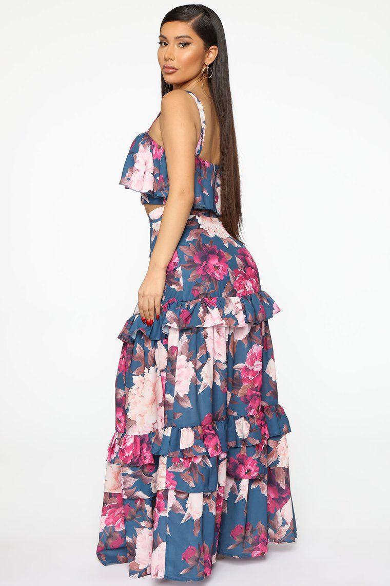 Flower Of Love Skirt Set Teal Combo Classic Summer Dresses Skirt Set Ladies Tops Fashion [ 1140 x 760 Pixel ]