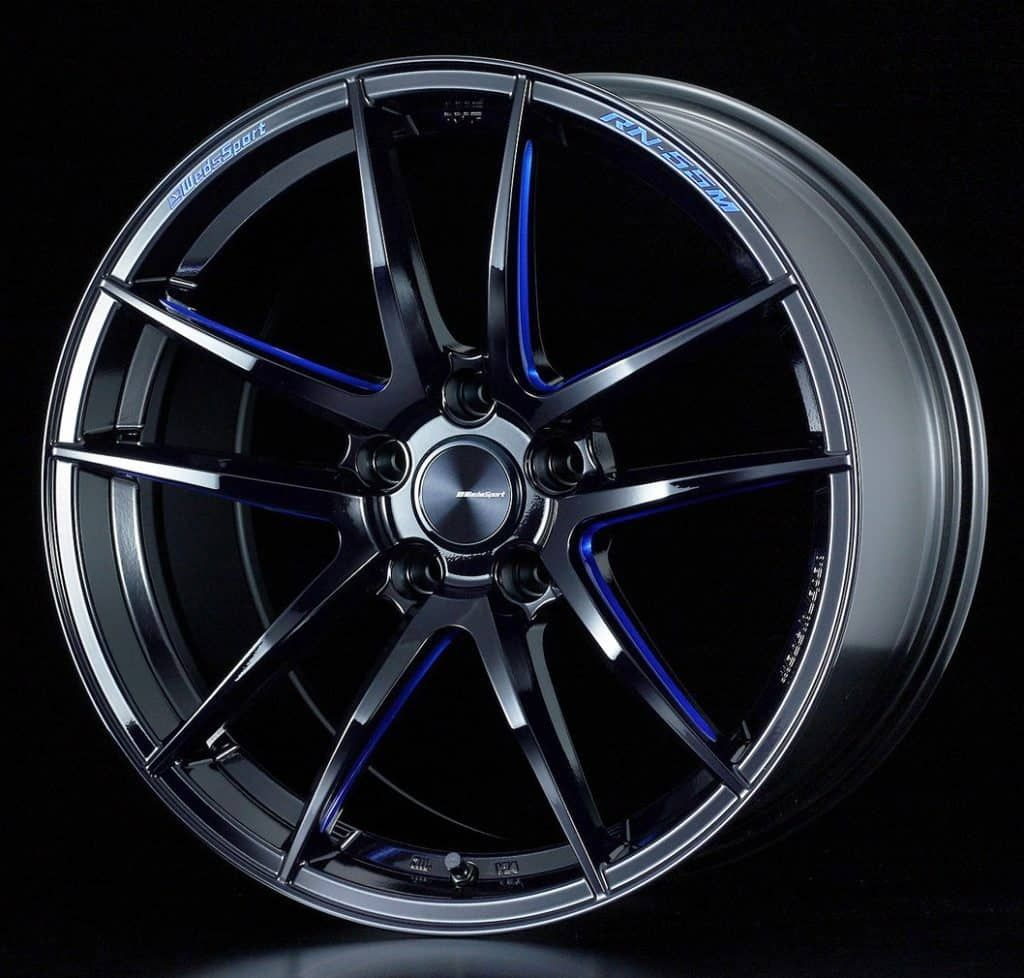 Weds Sport Rn55m Black Blue Machine Sold In Pairs 18 19 Papa Smith Custom Alloy Wheel Gloss Black Wheel