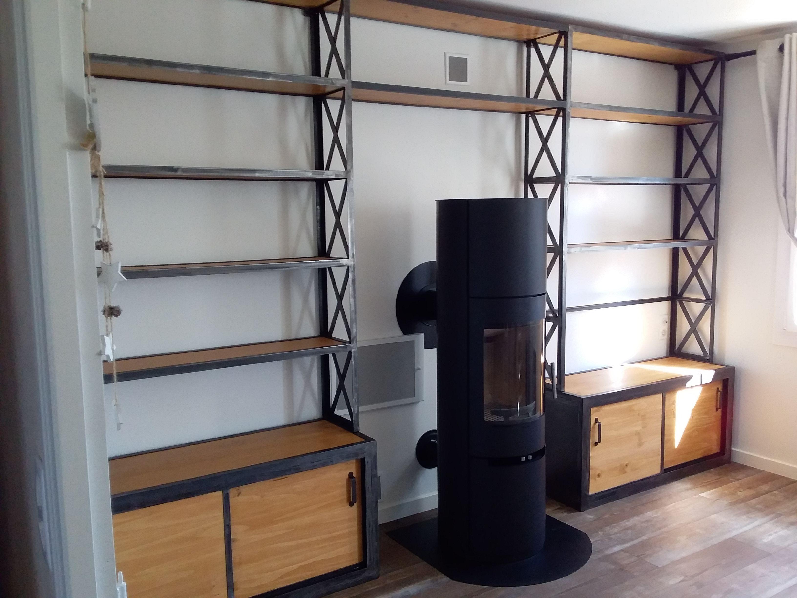 Bibliotheque Sur Mesure Restaurer Meuble Meubles Industriels Meuble