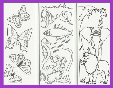 free bookmark coloring pages | Item ci001: ANIMAL set of 3 color ...