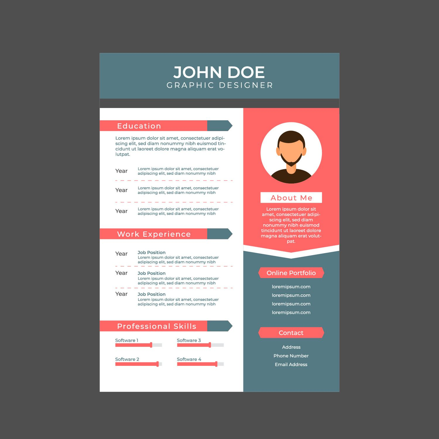 Graphic designer resume a4 size vector choose from
