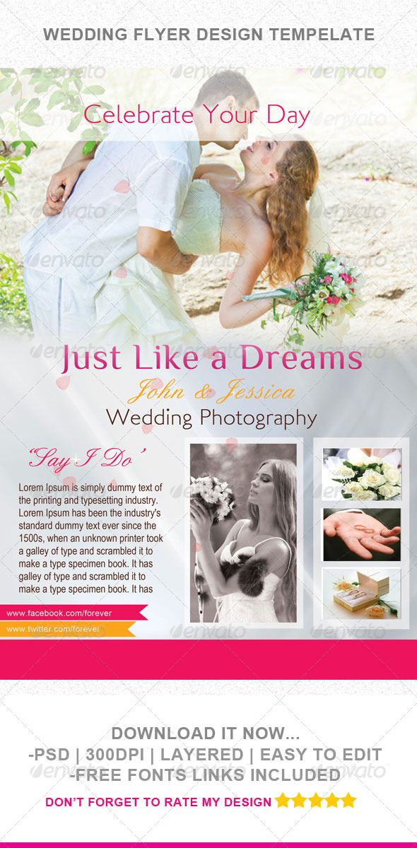 Wedding Flyer Template Flyer template, Photography flyer and - wedding flyer
