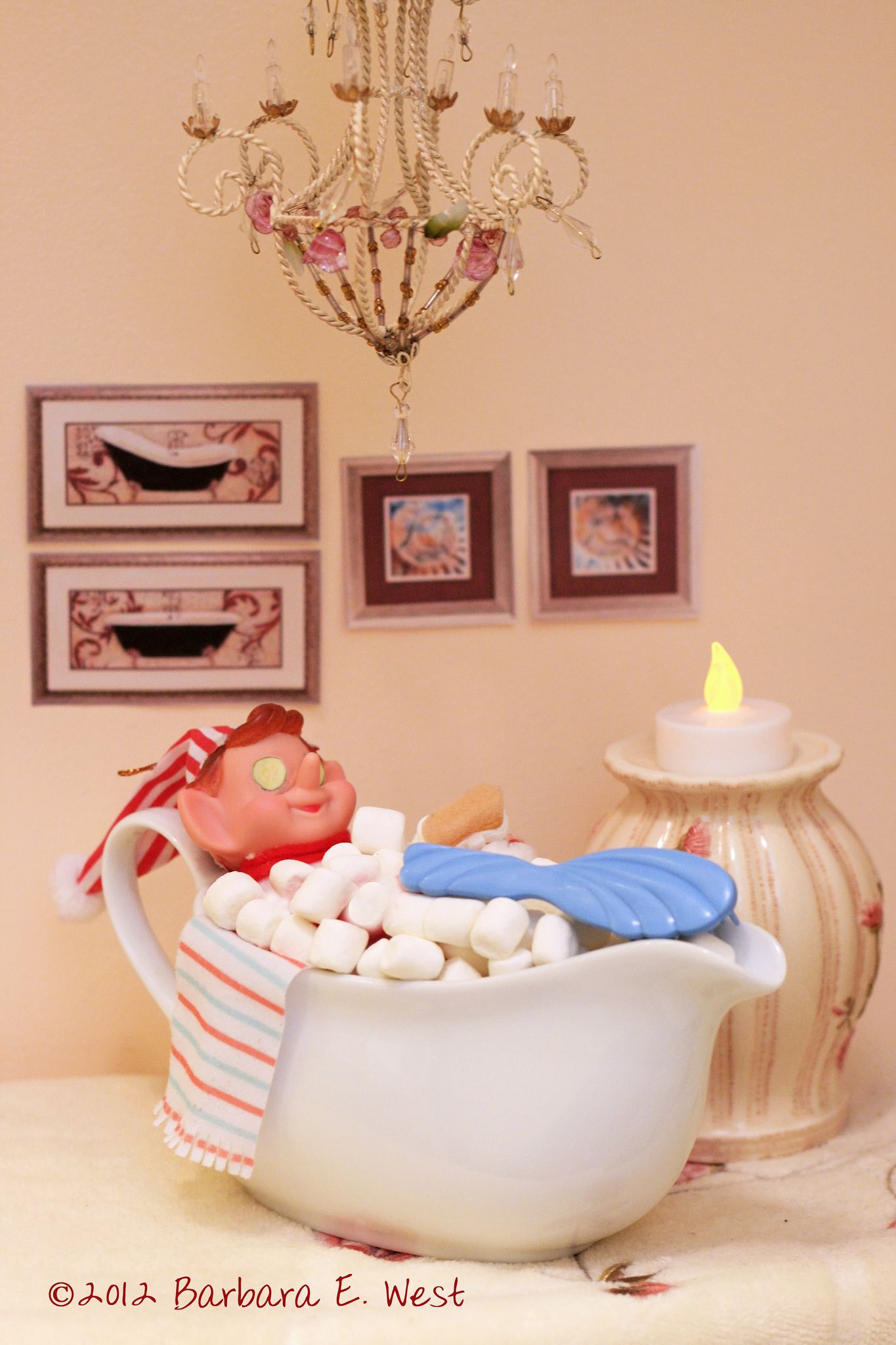 https://flic.kr/p/dAnQLb | (Vintage) Elf on the Shelf - bubble bath | Our Christmas elf sure knows how to relax after a long trip to the North Pole - soaking in a bubble bath, complete with cucumbers on his eyes, bath loofah and back scrubber and a candle to set the mood.