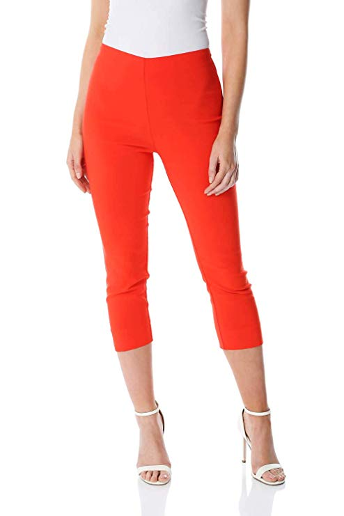 WOMENS 3//4 SHORTS CAPRI CROPPED TROUSERS LADIES FORMAL OFFICE ELASTICATED PANTS