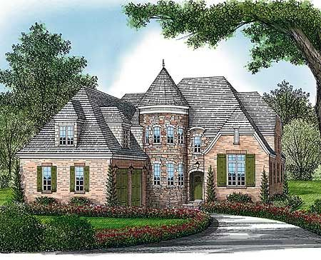 Plan 17578lv Elegant Curved Turret In 2021 Turret House Plans Turret House English Country House Plans