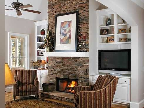 Tv In Builtins Next To Fireplace Bing Images Myhomelookbook Natural Stone Fireplaces Stone Fireplace Designs Fireplace Built Ins