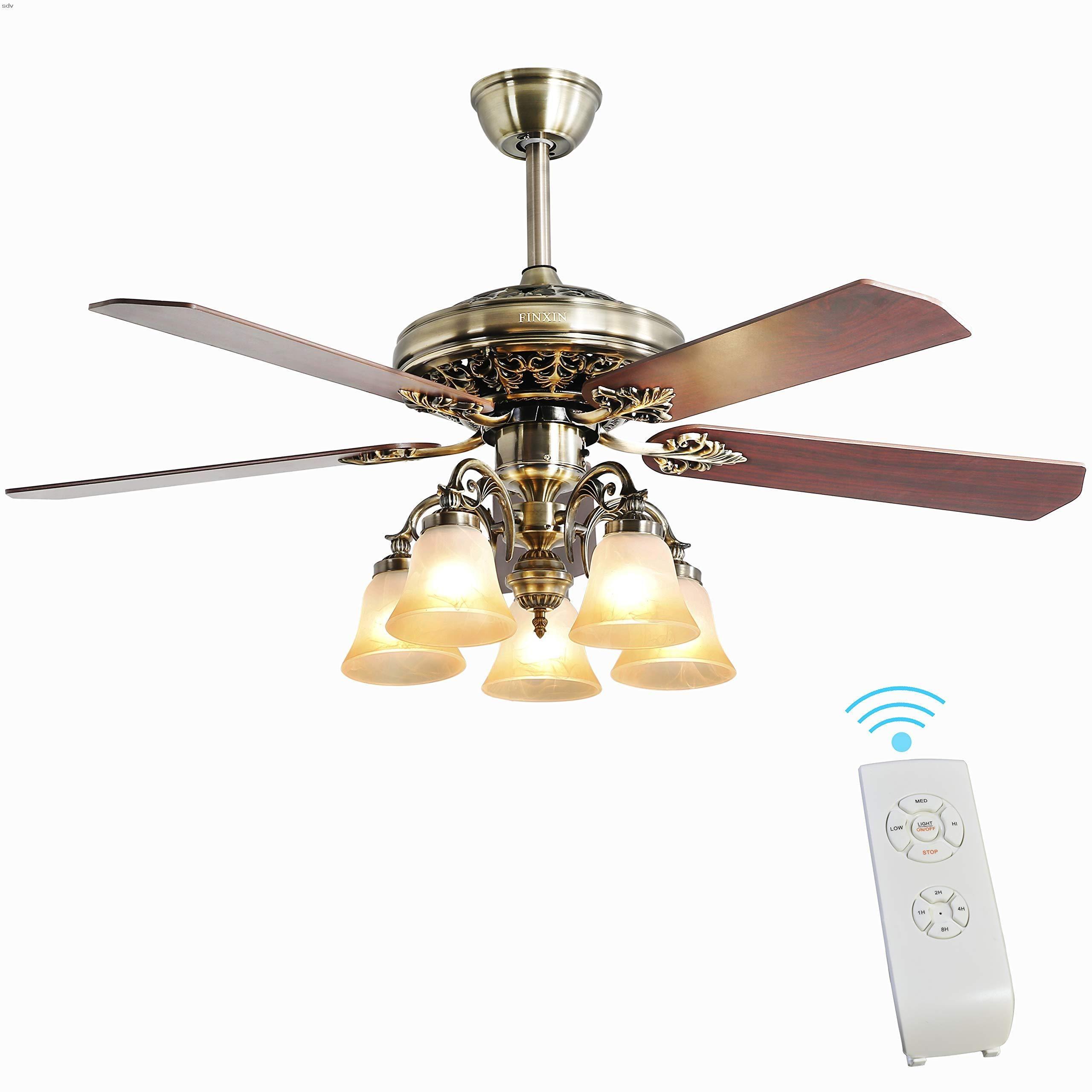 Indoor Ceiling Fan Light Fixtures Finxin New Bronze Remote Led 52 Ceiling Fans For Bedroom Living Room Dining Room Including Motor 5 Light 5 Blades Remote Swi