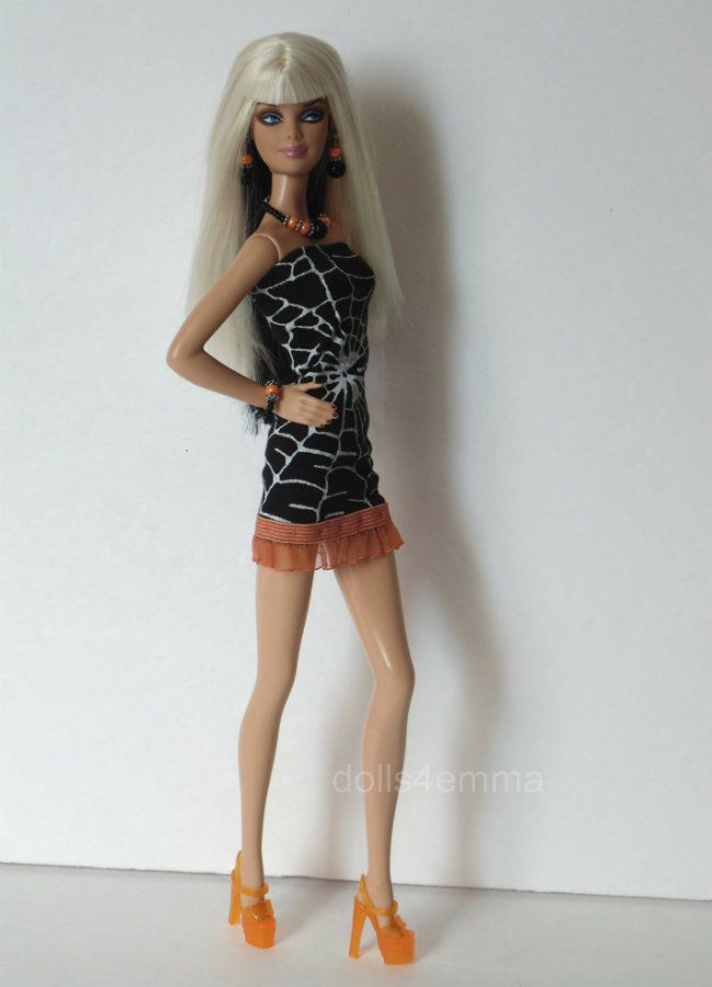 """""""BLACK WIDOW"""" - Sexy Goth Spider Web DRESS + JEWELRY Fashion for model muse body Barbie"""