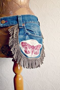 Boho Chic Upcycled Waist Purse Recycled Jeans Utility Belt Festival Clothing Women's Bum Bag Butterfly Fanny Pack Denim Hip Bag 'MARLO'