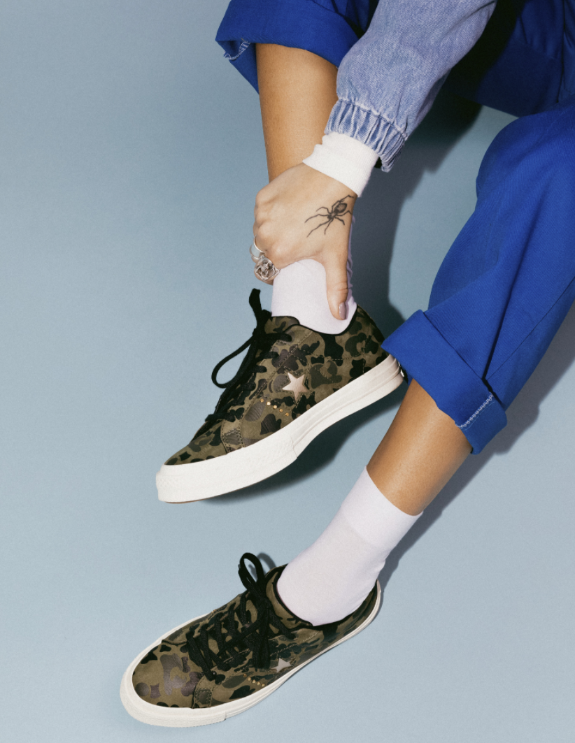 Be seen in the Converse One Star Camo Low Top.
