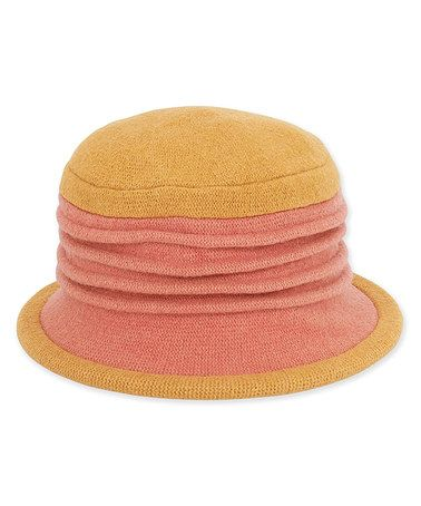 Another great find on #zulily! Coral & Yellow Accordion Wool Cloche…