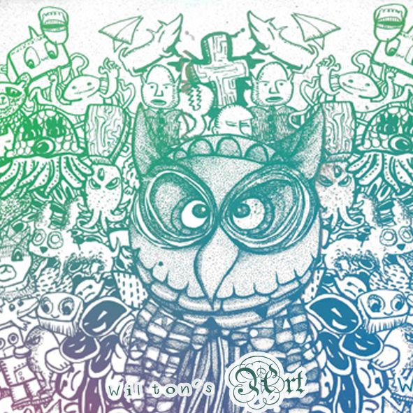 A dotted owl on the middle, surrounded my weird animals and stuffs.... doodle