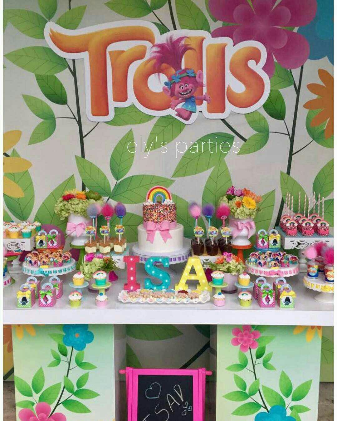 Trolls pastel rainbow birthday party ideas Trolls Rainbow Party