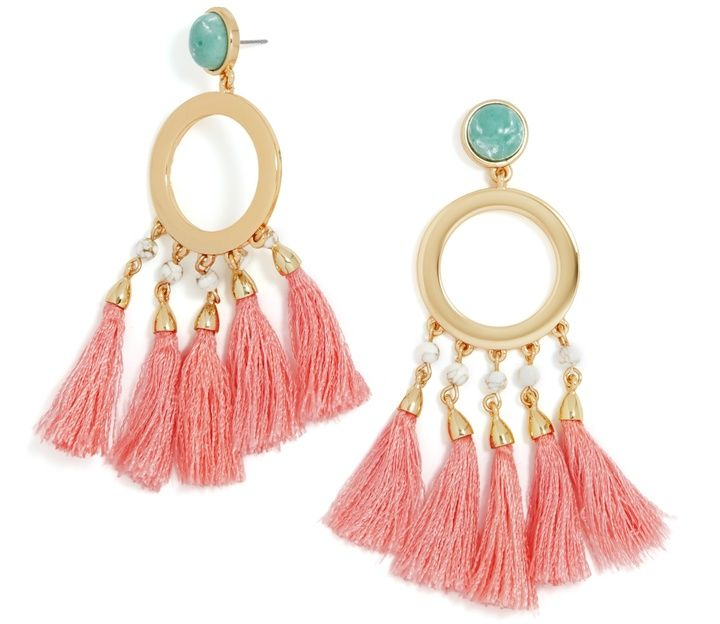 3de2e0238 Tropical coral tassels with glossy gold hardware. Coraline Drops @  acheekylifestyle.com by Val Banderman
