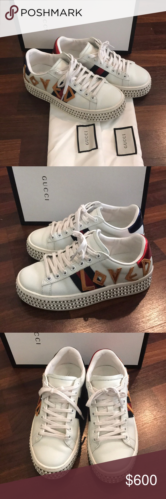 f3146165b Gucci ace sneakers loved with crystals Sz 37/7 Us Gucci ace sneakers set on  Platform rubber sole embellished with rows of crystals Inbox and dustbag  and ...