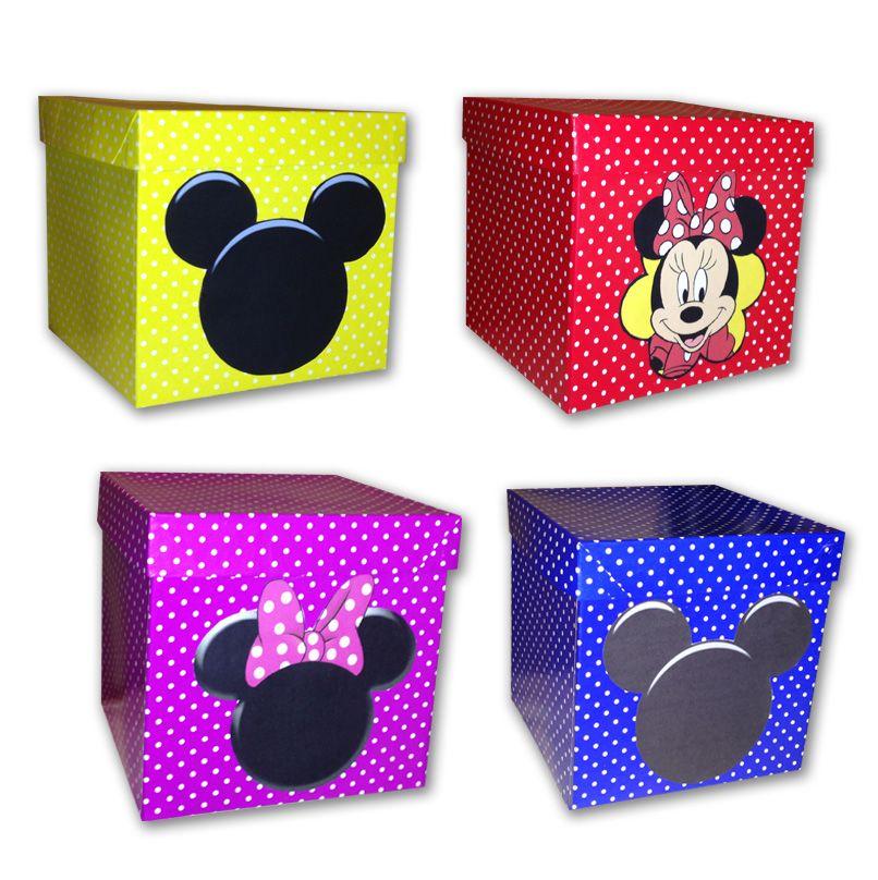 Cajas de carton decoradas con el motivo de mickey y minnie cotillones pinterest mice - Cajas carton decoradas ...