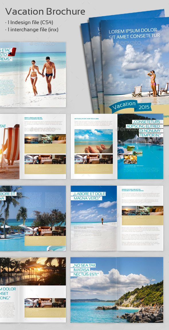Vacation Brochure  Best Brochures Indesign Brochure Templates