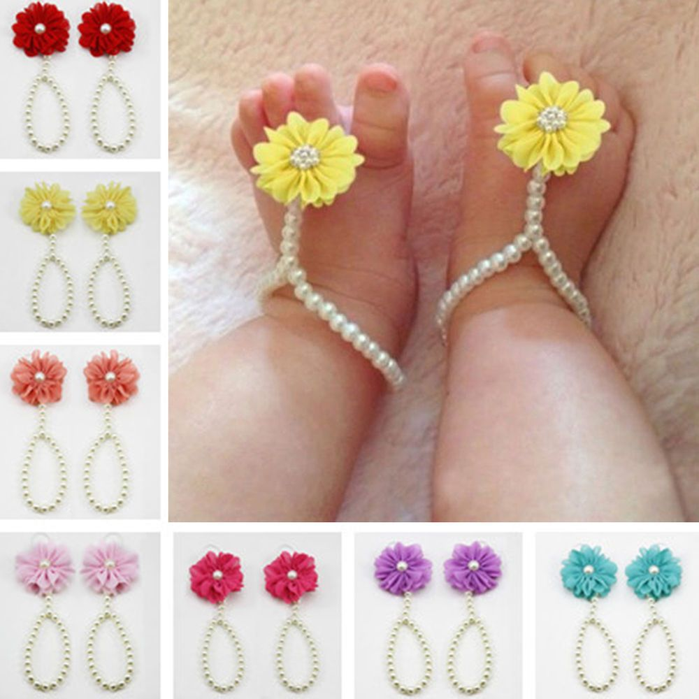Infant Kids Anklet Baby Girl Barefoot Beaded Flower Pearl Ring Shoes Sandals