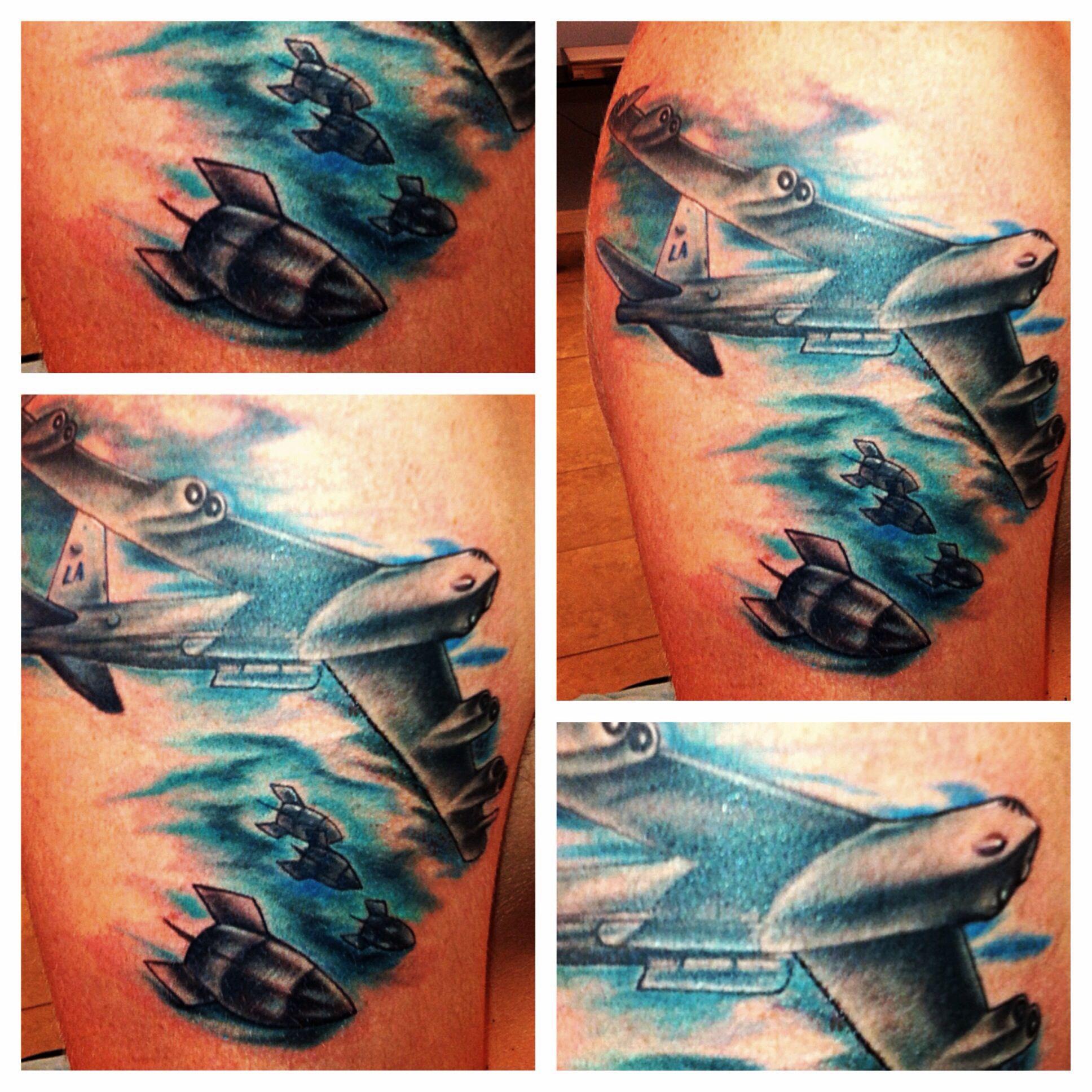 B 52 Bomber Tattoo Done By Tattooedrob Prez Facebook Robdprez Instagram Art Tattoo Tattoos Watercolor Tattoo
